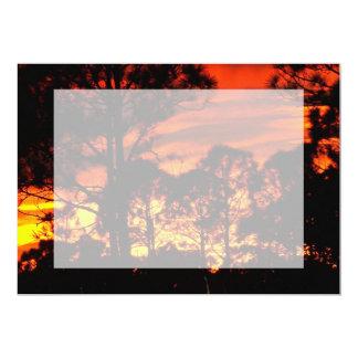 Puesta del sol con amarillo rojo de los pinos anuncio personalizado