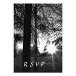 Puesta del sol con la noche de los árboles que cas invitaciones personalizada