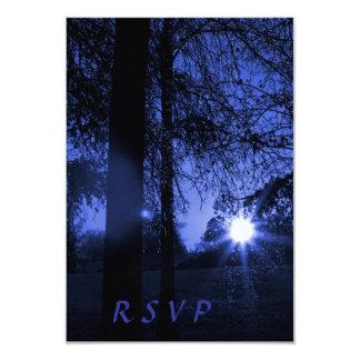 Puesta del sol con la noche de los árboles que invitación 8,9 x 12,7 cm