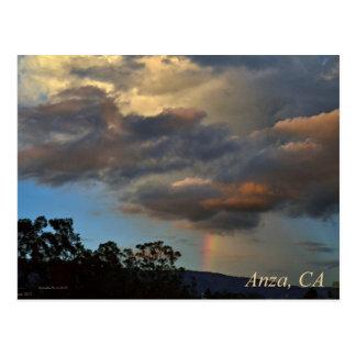 Puesta del sol con la postal de Anza California