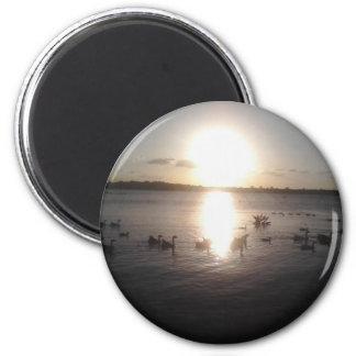 Puesta del sol con los patos imán redondo 5 cm