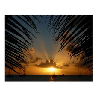 Puesta del sol con paisaje marino tropical de las tarjeta postal
