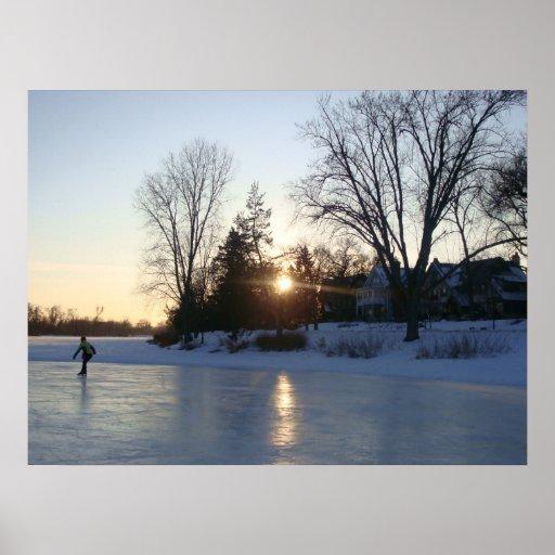 Puesta del sol congelada del lago impresiones