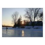 Puesta del sol congelada del lago tarjeta
