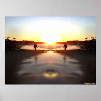 Puesta del sol costera de la copia impresiones