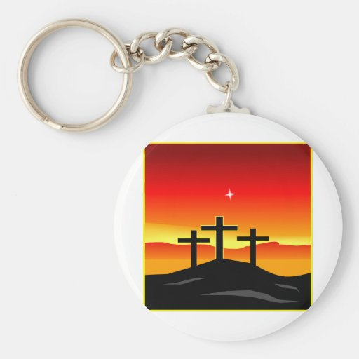 Puesta del sol de 3 cruces llavero personalizado