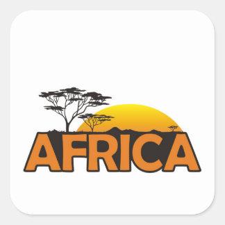 Puesta del sol de África con el sol poniente Pegatina Cuadrada