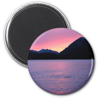Puesta del sol de Alaska romántica Iman Para Frigorífico