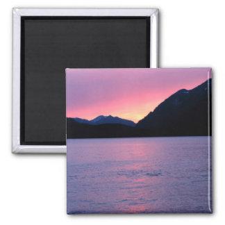 Puesta del sol de Alaska romántica Imán Cuadrado