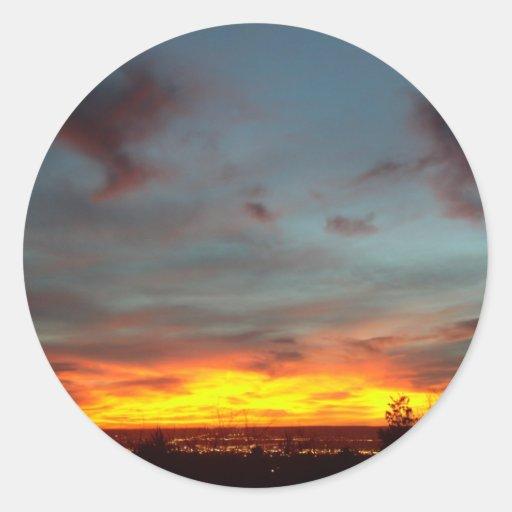 Puesta del sol de Albuquerque Pegatinas Redondas