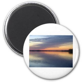 Puesta del sol de Alburgh, VT de Champlain del lag Imán Redondo 5 Cm