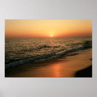 Puesta del sol de Algarve Póster
