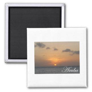 Puesta del sol de Aruba Imán Cuadrado