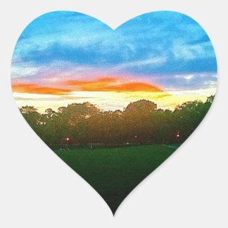 Puesta del sol de Brooklyn Pegatina En Forma De Corazón