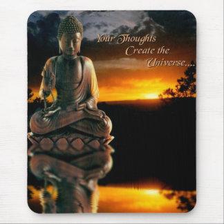 Puesta del sol de Buda con cita Tapete De Ratones