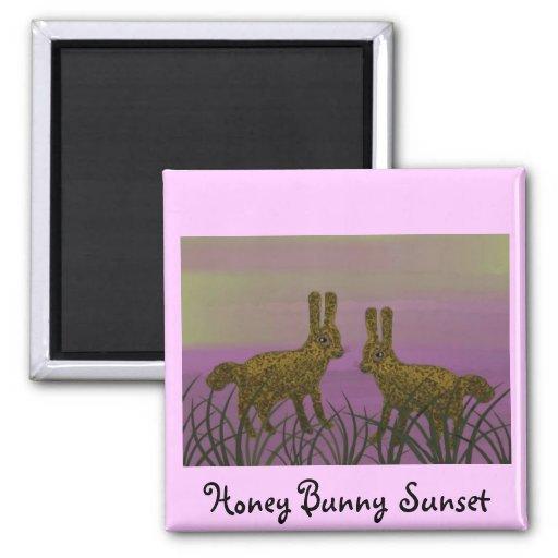 Puesta del sol de Bunny Luv Imán Cuadrado