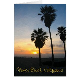 Puesta del sol de California de la playa de Tarjeta De Felicitación