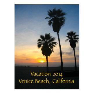 Puesta del sol de California de la playa de Tarjeta Postal