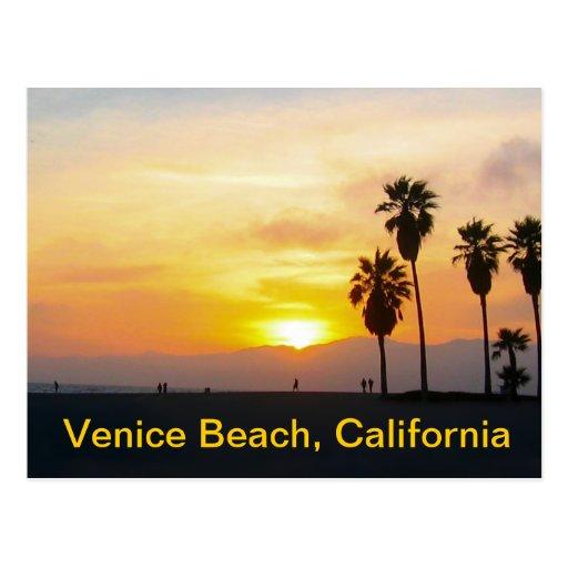 Puesta del sol de California de la playa de Veneci