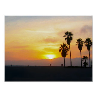 Puesta del sol de California de la playa de Veneci Poster