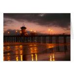 Puesta del sol de California en Huntington Beach Felicitacion