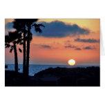 Puesta del sol de California en la playa de Oxnard Tarjeta Pequeña