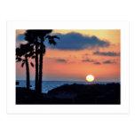 Puesta del sol de California en la playa de Oxnard Postal