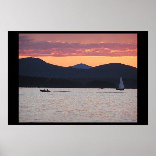 Puesta del sol de Champlain del lago Póster