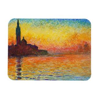 Puesta del sol de Claude Monet en arte del Iman Rectangular