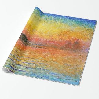 Puesta del sol de Claude Monet en arte del Papel De Regalo