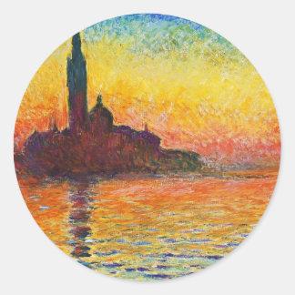 Puesta del sol de Claude Monet en arte del Pegatina Redonda