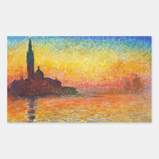 Puesta del sol de Claude Monet en arte del Pegatina Rectangular
