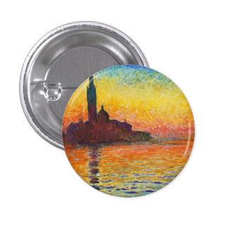 Puesta del sol de Claude Monet en arte del Pin Redondo De 1 Pulgada