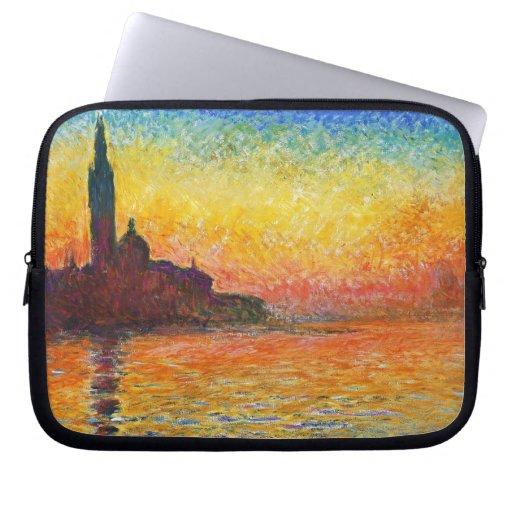 Puesta del sol de Claude Monet en Venecia Funda Portátil