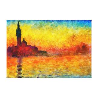 Puesta del sol de Claude Monet en Venecia Impresiones De Lienzo
