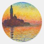 Puesta del sol de Claude Monet en Venecia Pegatina Redonda