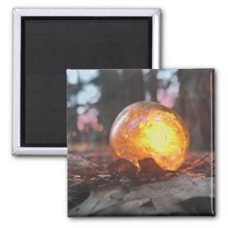 Puesta del sol de cristal del flotador llenada imán cuadrado