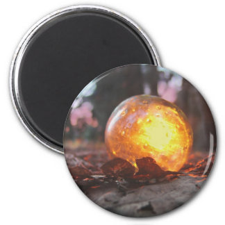 Puesta del sol de cristal del flotador llenada imán redondo 5 cm