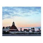 Puesta del sol de Del Coronado Tarjetas Postales