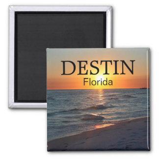 Puesta del sol de Destin la Florida sobre el golfo Imán Cuadrado