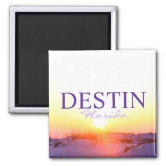 Puesta del sol de Destin la Florida sobre las duna Imán Cuadrado