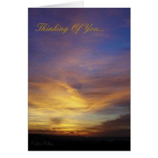 Puesta del sol de Devon - pensando en usted Felicitación