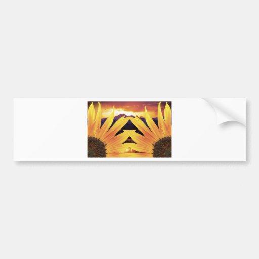 Puesta del sol de dos girasoles etiqueta de parachoque