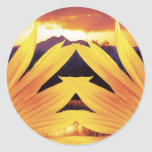 Puesta del sol de dos girasoles pegatina redonda