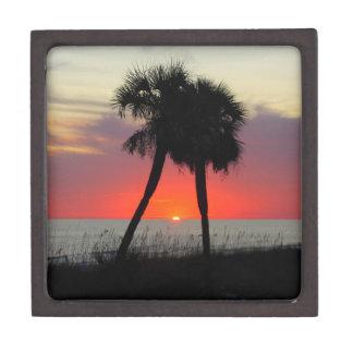 Puesta del sol de dos palmeras - caja de regalo de cajas de joyas de calidad