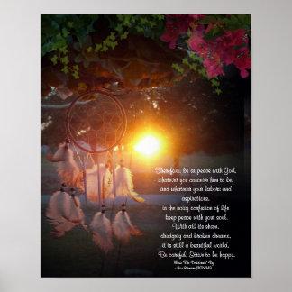 Puesta del sol de Dreamcatcher de los desiderátums Poster