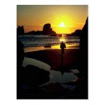 Puesta del sol de Ecola, costa de Oregon, los E.E. Tarjeta Postal