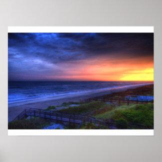 Puesta del sol de Emerald Isle Póster