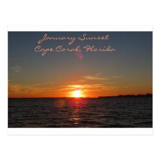 Puesta del sol de enero, coral del cabo, la postal