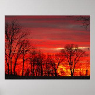Puesta del sol de enero póster